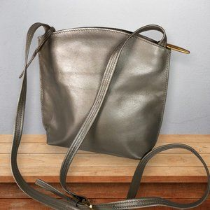 Liz Claiborne Gold Metallic Leather Crossbody Bag